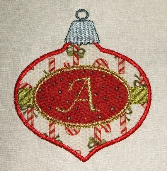 Christmas ornament with monogram machine embroidery applique