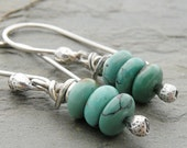 Turquoise Earrings, Gemstone, Stack, Sterling Silver, Twistie Wire Wrap, Oxidized