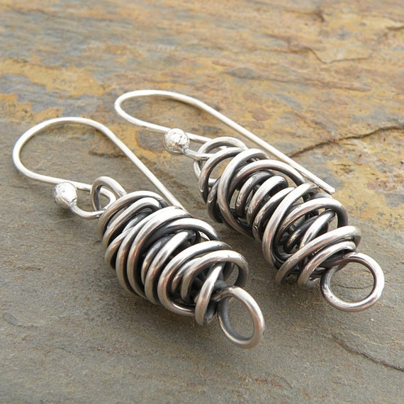 Sterling Silver Earrings - Twisted Wire, Thick Twistie Beads, Oxidized Sterling