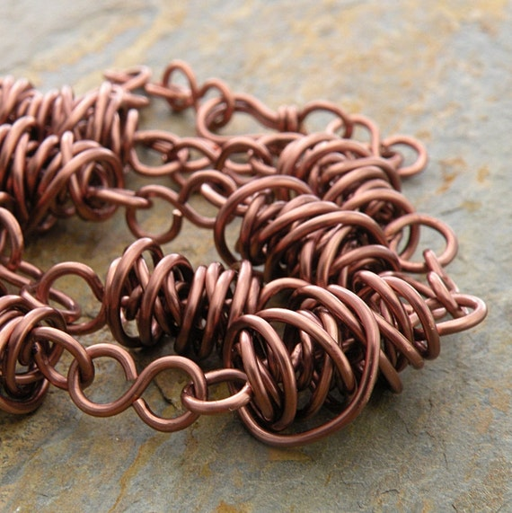 Copper Necklace, Wire, Thick Twistie Beads, Casual