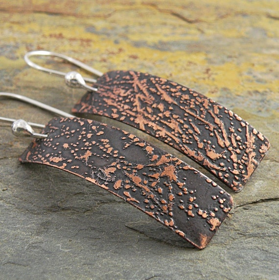 Etched Copper Earrings, Abstract Splatter, Rectangles,  Sterling Silver