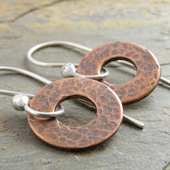 Circles Earrings, Textured Copper, Oxidized, Sterling Silver