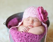 Girl Photography Prop Hat w Flower Infants 0 - 12 months Made-To-Order