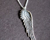Pure Heart Silver oxidized Angel Wing necklace. mens.