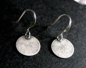 Dark Denim dot silver karma circle earrings