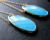 Fit for A Queen 24K Gorgeous Sky Blue Turquoise basket cut elongated teard drop earrings chain dangle limited edition