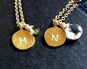 Best Friends necklace set custom handstamped initial sister mommy 24K gold vermeil and birthstone customize personalized necklaces