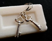 Keys Sterling silver skeleton polished shiny earrings clearance