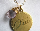 SALE Gold french OUI yes pink topaz coin disk disc medallion circle o france travel eiffel tower le tour eiffel necklace boho vintage