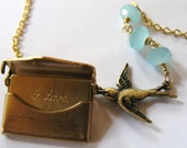 Artwark Original Don't settle for copycats GOLD brass LOVE BIRD SPECIAL DELIVERY MESSAGE envelope movable hinged hinges necklace birds birdy birdie leaf twig clouds clouds sky blue chalcedony branch necklace charm pendant boho vintage