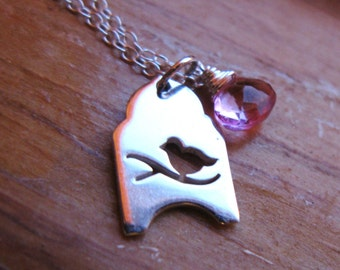 Twitter Little Bird on branch sterling silver and pink topaz necklace