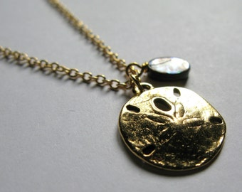 Antique Gold sand dollar and paua shell nautical charms necklace