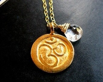 Meditation Large 24K Gold vermeil Om aum coin disc and white topaz necklace