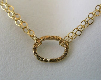 Gold filled Oval karma eternity harmony circle necklace pendant chain scratched hammered finish