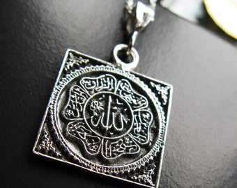 Sterling Silver Names of Allah square pendant necklace last one