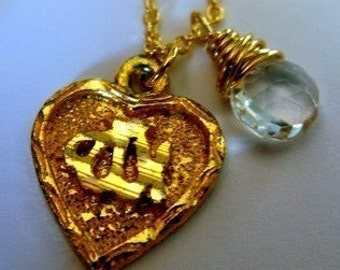 CUSTOM Love ALLAH 24K Gold vermeil heart Arabic Calligraphy birthstone Islamic Muslim Necklace charm pendant chain Inshallah Mashallah