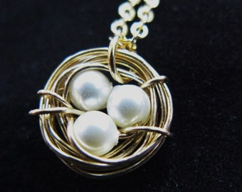 Just nest swarovski pearl 14K Gold filled nest nesting necklace chain pendant charm bird customized personalized mother mom baby babies tree