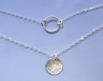Balancing Act Sterling silver small tiny round circle disc scratched karma circle life harmony birth necklace set custom length