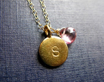 24K Gold vermeil Initial Stamped coin and birthstone or flower necklace chain birthstone quartz or simulated opal