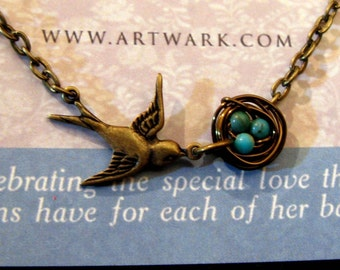 Mother's Love III Antiqued brass sparrow bird and bronze nest turquoise or rice pearl eggs customized necklace