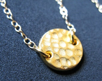To the Sun 22K Gold plate plated organic karma O hammer hammered disc coin medallion circle necklace chain pendant charm