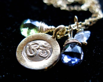 What goes around comes around Karma Om and birthstone gems Mommy family disc necklace in 24K or sterling silver