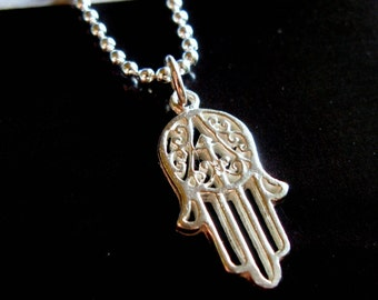 Hamsa Hand necklace. Sterling Silver. Mens.