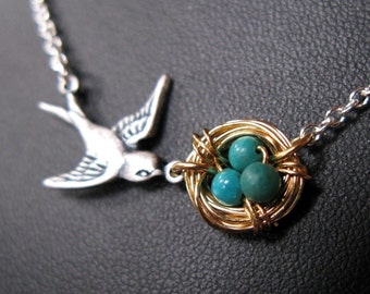 Mothers Love necklace Antiqued SILVER GOLD plated Bird nest necklace sparrow birdy nesting chain pendant  mommy necklace