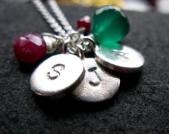 My Family disc Sterling Silver custom hand stamped engraved initial necklace with birthstones
