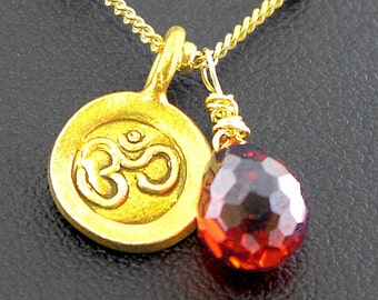 GOLD vermeil  filled Ohm om aum Red CZ drop necklace