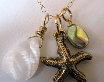 14K GOLD filled nautical starfish mother of pearl MOP paua shell necklace removable charms pendant boho vintage