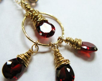 14K GOLD fill cranberry Necklace choker pendant charms chain red crystal cubic zirconia drop briolette tears faceted smoky quartz