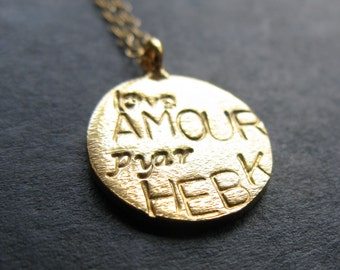What the World needs is Love. 24K Gold vermeil brushed disc stamped pyar love amour and hebek Global unity coin necklace