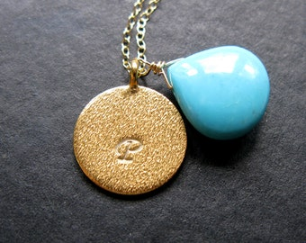 Last one 24K Gold vermeil brushed disc handstamped initial with grade AA sleeping beauty