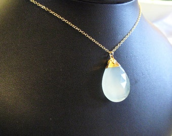 Something Blue wedding necklace Grade A aqua blue chalcedony faceted tear drop briolette 24K Gold capped edged dipped bridal custom length 14K Gold fill chain OOAK One of a kind necklace charm pendant