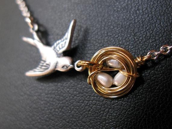 CUSTOM Mothers love II silver plated oxidized vintage bird nest eggs woven sparrow love baby necklace original customizable