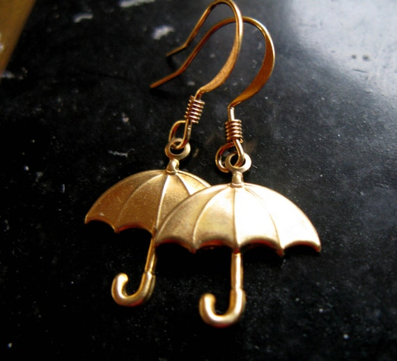 I dont do galoshes vintage brass and gold umbrella earrings