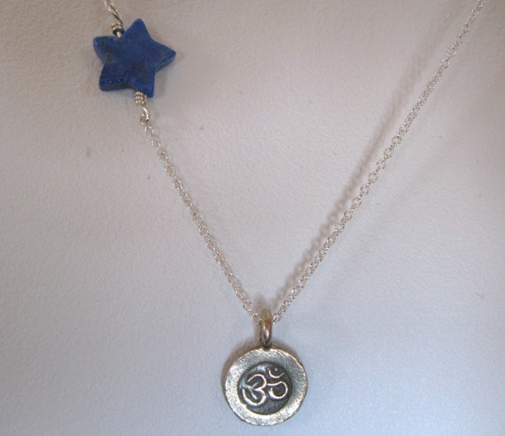 Sterling Silver om ohm aum and blue lapis star necklace