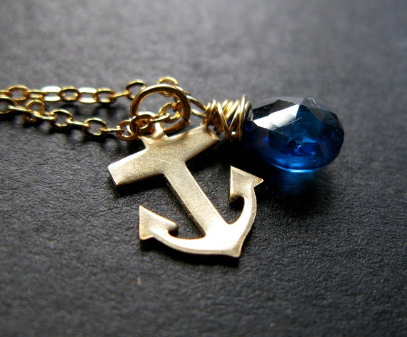 Ocean Anchor swiss blue cz teardrop and golden vintage anchor nautical charm necklace Only One