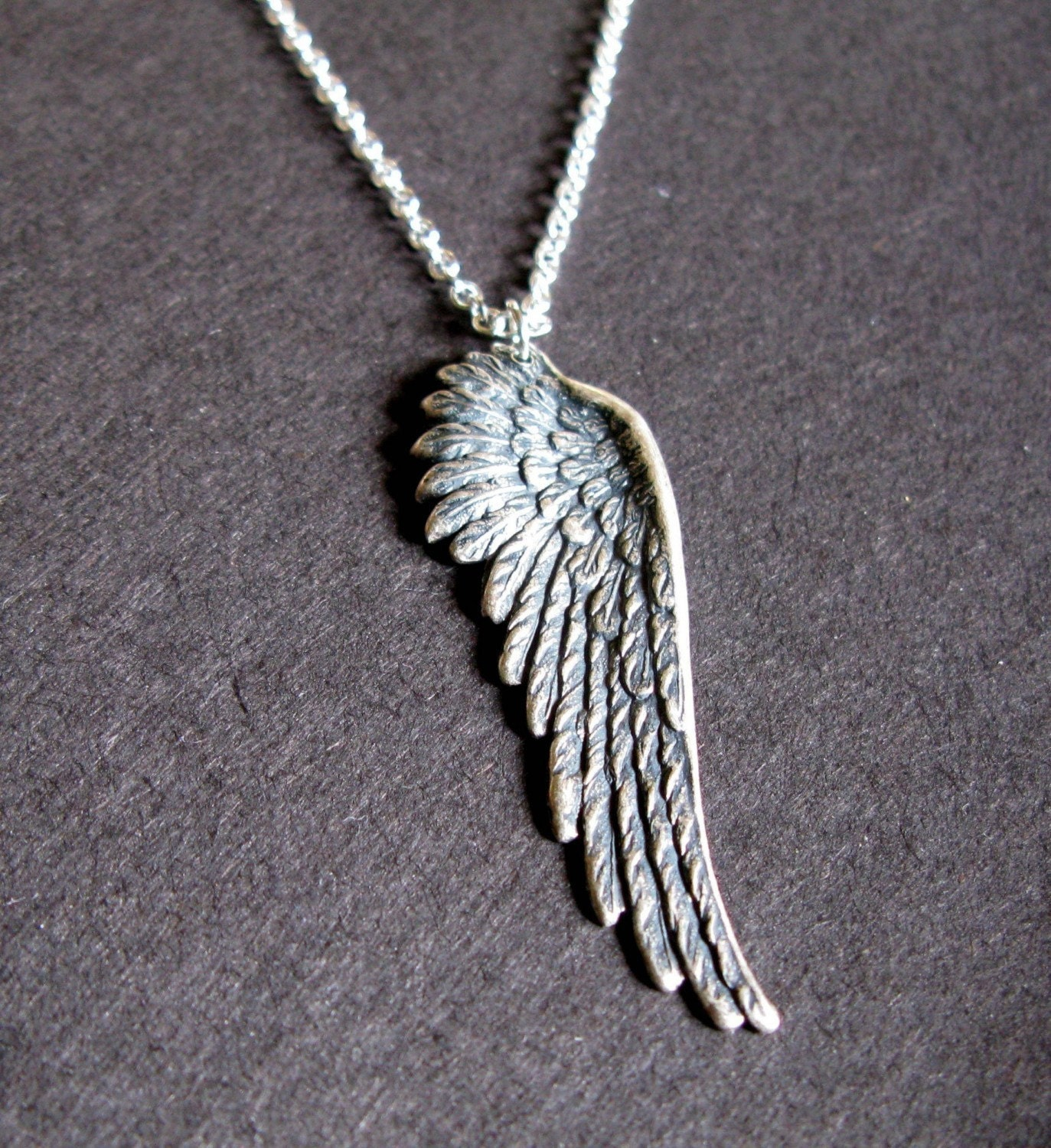 Pure Heart Silver Oxidized Angel Wing Necklace Mens
