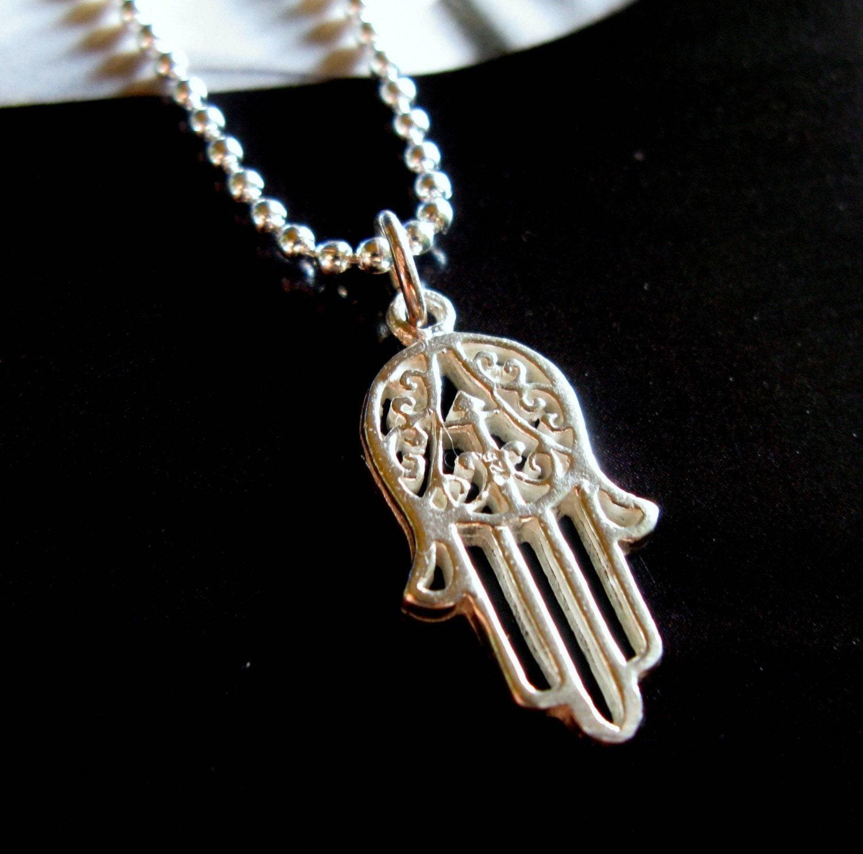 Hamsa Hand Necklace Sterling Silver Mens