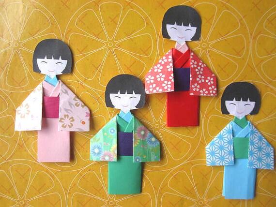 6 X handmade assorted ORIGAMI japanese doll