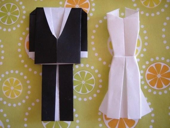 3 X Set of handmade ORIGAMI BRIDE and GROOM