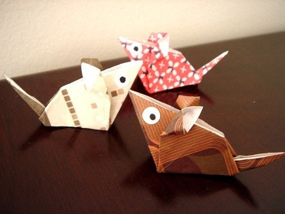 6 X ASSORTED HANDMADE ORIGAMI MOUSE