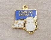 Aviva Vintage Snoopy Conserve Energy Charm  Enamel Cloisonne 0055