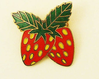 Vintage Aviva Strawberry Enamel Pin 82-3
