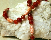 ON SALE Cracked agate, carnelian and jasper necklace