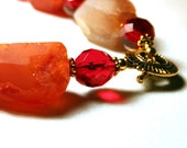 Rough agate chunks necklace, red beads and agate necklace, agate nuggets necklace,