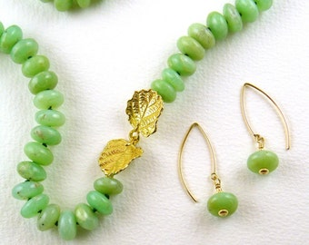 Soft green chrysoprase necklace and earrings set by Maxime B