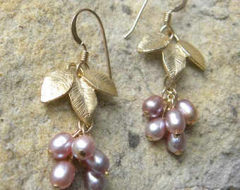 Leaves and fruits dangle earrings